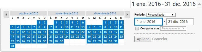 Rango fechas en Google Analytics