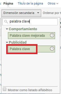 Palabra Clave Google Analytics