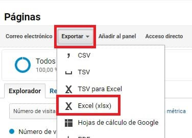 Exportar en Excel keywords Analytics