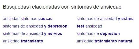 Búsquedas relacionadas en Google para Síntomas de ansiedad