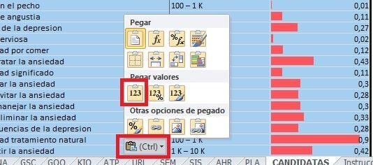 Pegar valores celdas en Excel