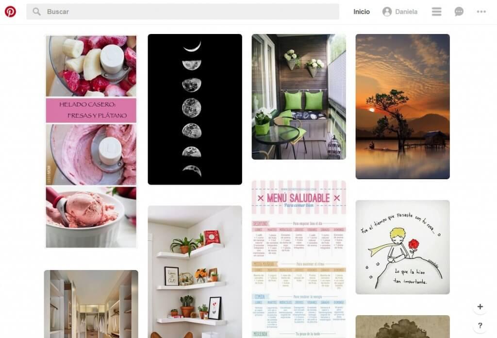 En cuanto hayas realizado estos pasos estarás dentro de la plataforma, y lo primero que se muestra es el feed, es decir, las imágenes relacionadas con las temáticas que elegiste cuando te diste de alta.